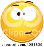 Clipart Yellow Smiley Emoticon Face With A Skeptical Expression Royalty Free Vector Illustration