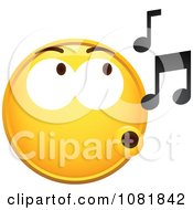 Clipart Yellow Smiley Emoticon Face Whistling Royalty Free Vector Illustration by beboy