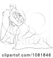 Clipart Romantic Sketched Groom Dipping And Kissing The Bride While Dancing Royalty Free Illustration