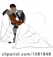 Clipart Romantic Black Groom Dipping And Kissing The Bride While Dancing Royalty Free Illustration