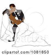 Clipart Romantic Hispanic Groom Dipping And Kissing The Bride While Dancing Royalty Free Illustration