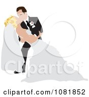 Clipart Romantic Groom Dipping And Kissing The Bride While Dancing Royalty Free Illustration