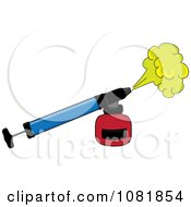 Clipart Blue And Red Bug Insecticide Sprayer Royalty Free Vector Illustration