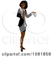 Clipart Black Businesswoman Or Realtor Holding A Folder And Glasses Royalty Free Illustration by Pams Clipart