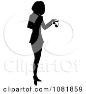Clipart Silhouetted Businesswoman Or Realtor Holding A Folder And Glasses Royalty Free Illustration