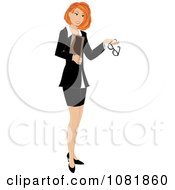 Clipart Red Haired Businesswoman Or Realtor Holding A Folder And Glasses Royalty Free Illustration by Pams Clipart