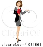 Clipart Brunette Businesswoman Or Realtor Holding A Folder And Glasses Royalty Free Vector Illustration by Pams Clipart