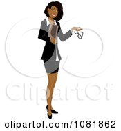 Clipart Hispanic Businesswoman Or Realtor Holding A Folder And Glasses Royalty Free Illustration by Pams Clipart