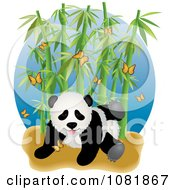 Cute Playful Panda With Butterflies And Bamboo