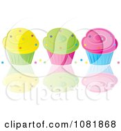 Clipart Yellow Green And Pink Frosted Cupcakes With Dots - Royalty Free Vector Illustration by Pams Clipart