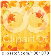 Clipart Autumn Background Of Sunshine Rays And Maple Leaves Royalty Free Vector Illustration