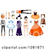 Clipart Teenage Doll With Halloween Costumes Royalty Free Vector Illustration by Pushkin