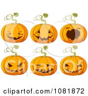 Clipart Six Halloween Pumpkins With Jackolantern Carvings Royalty Free Vector Illustration