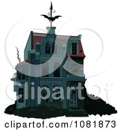 Clipart Creepy Halloween Haunted House With Boarded Up Windows Royalty Free Vector Illustration