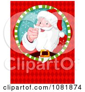 Clipart Santa Pointing Through A Circle On A Red Diamond Background Royalty Free Vector Illustration