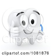 Clipart 3d Tooth Holding A Thumb Up Royalty Free CGI Illustration