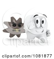 Clipart 3d Tooth Running From Germs Royalty Free CGI Illustration