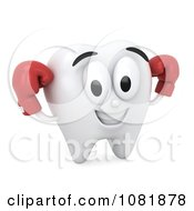 Clipart 3d Tooth Wearing Boxing Gloves Royalty Free CGI Illustration
