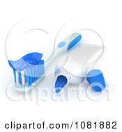 Clipart 3d Tooth Brush With A Tube And Paste Royalty Free CGI Illustration