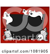 Clipart Black And Red Halloween Frame With Ghosts And Tombstones Royalty Free Vector Illustration