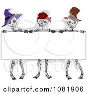 Skeletons Holding A Halloween Sign