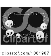 Clipart Black And White Halloween Frame Of Skulls Royalty Free Vector Illustration