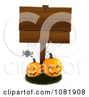 Clipart 3d Wooden Halloween Sign With A Spider And Jackolanterns Royalty Free CGI Illustration by BNP Design Studio