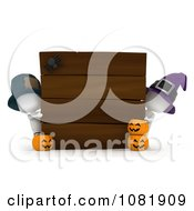 Clipart 3d Ivory People With A Blank Halloween Board Royalty Free CGI Illustration by BNP Design Studio