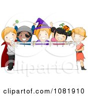 Clipart Halloween Kids Holding A Blank Banner Royalty Free Vector Illustration