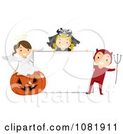 Clipart Group Of Halloween Kids With A Blank Sign Royalty Free Vector Illustration