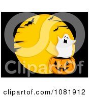 Clipart Ghost Jackolantern And Moon Over Black Royalty Free Vector Illustration