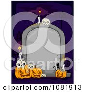 Clipart Blank Tombstone With Jackolanterns Skulls And Candles Royalty Free Vector Illustration
