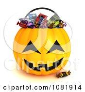 Clipart 3d Candy In A Halloween Jackolantern Basket Royalty Free CGI Illustration