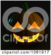 Clipart 3d Halloween Jackolantern On Black Royalty Free CGI Illustration