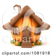 Clipart 3d Halloween Jackolantern Pumpkin House Royalty Free CGI Illustration