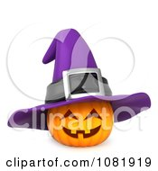 Clipart 3d Halloween Jackolantern With A Purple Witch Hat Royalty Free CGI Illustration