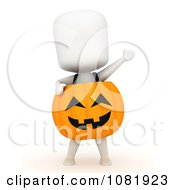 Clipart 3d Ivory Man In A Pumpkin Costume 1 Royalty Free CGI Illustration