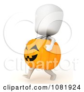 Clipart 3d Ivory Man In A Pumpkin Costume 2 Royalty Free CGI Illustration