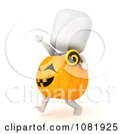 Clipart 3d Ivory Man In A Pumpkin Costume 3 Royalty Free CGI Illustration