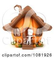 Clipart 3d Ivory Man In A Halloween Jackolantern Pumpkin House Royalty Free CGI Illustration