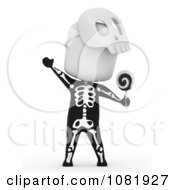 Clipart 3d Ivory Man Trick Or Treating In A Skeleton Costume Royalty Free CGI Illustration
