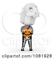 Clipart 3d Skeleton Ivory Man Holding A Halloween Candy Pumpkin Basket Royalty Free CGI Illustration