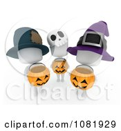 Clipart 3d Ivory People Holding Halloween Candy Pumpkin Baskets Royalty Free CGI Illustration by BNP Design Studio