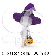 Clipart 3d Ivory Man In A Halloween Witch Costume 1 Royalty Free CGI Illustration