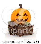Clipart 3d Halloween Jackolantern In A Cart Royalty Free CGI Illustration