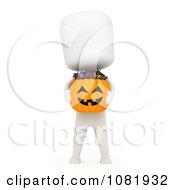 Clipart 3d Ivory Man Holding A Halloween Candy Pumpkin Basket Royalty Free CGI Illustration