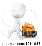 Clipart 3d Ivory Man Pulling Pumpkins In A Cart Royalty Free CGI Illustration