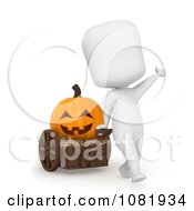 Clipart 3d Ivory Man Pulling A Jackolantern In A Cart Royalty Free CGI Illustration