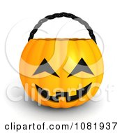 Clipart 3d Halloween Jackolantern Basket Royalty Free CGI Illustration