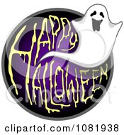 Clipart Ghost And Purple Happy Halloween Greeting Royalty Free Vector Illustration